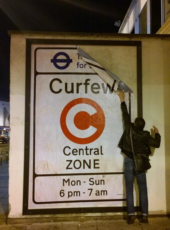 "London, Shoreditch, street art,installation,""paste up"", artist, ""street artist"", ""Dr D"",""congestion zone"", satire, subversion"