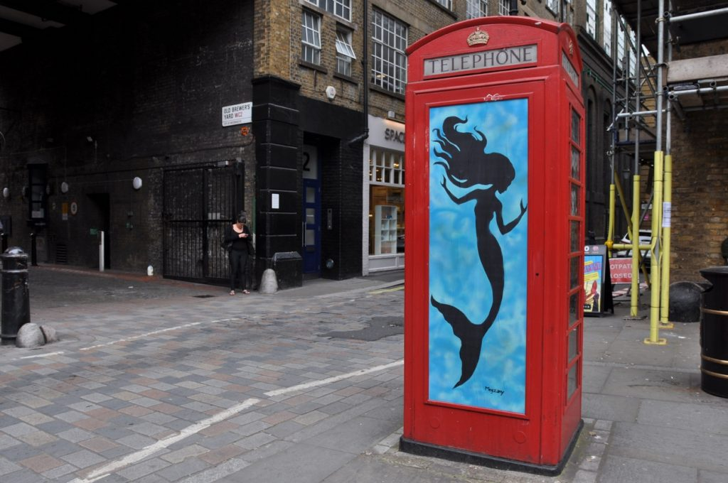London, street art, Shoreditch, guided tour, graffiti,  Megzany, stencil, paste up, mermaid,  phone box