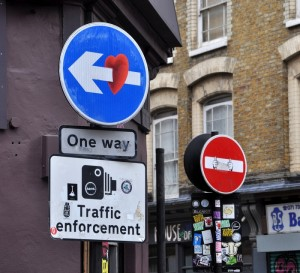 Clet Abraham, Shoreditch,London,Street Art,artist,stencil,subverted,road signs,no entry, traffic signs