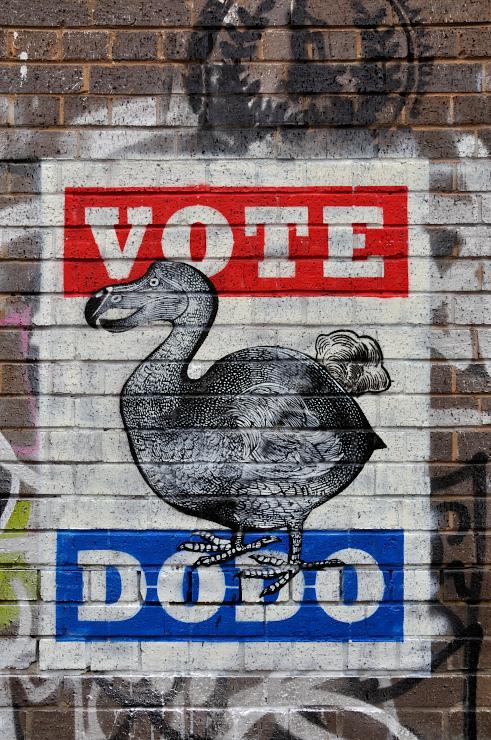 London, Shoreditch, Street art, artists, politics, election 2015, UK, K-Guy, Vote Dodo,
