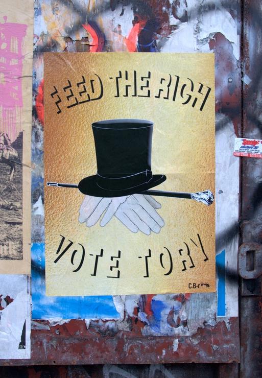 "London, Shoreditch, Street art, artists, politics, election 2015, UK, ""Feed The Rich"""