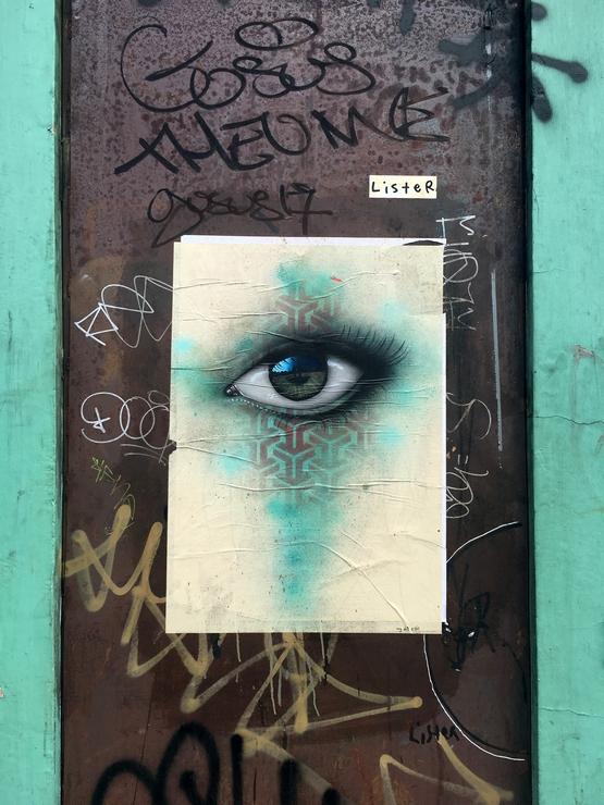 Street art, Shoreditch, London, stencil, paste up, spraypaint, My Dog Sighs, photorealism, eye
