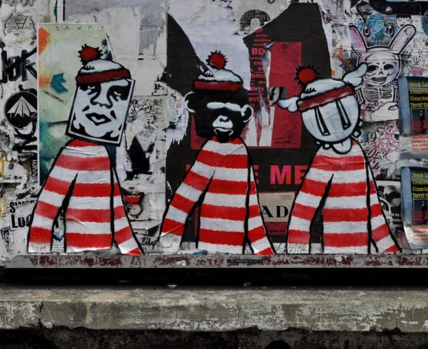 Street Art, Shoreditch, London, Shoreditch Street Art Tours, Stra, Banksy, Shepard Fairey, DFace, D*Dface, parody, copy, humour, Where's Wally