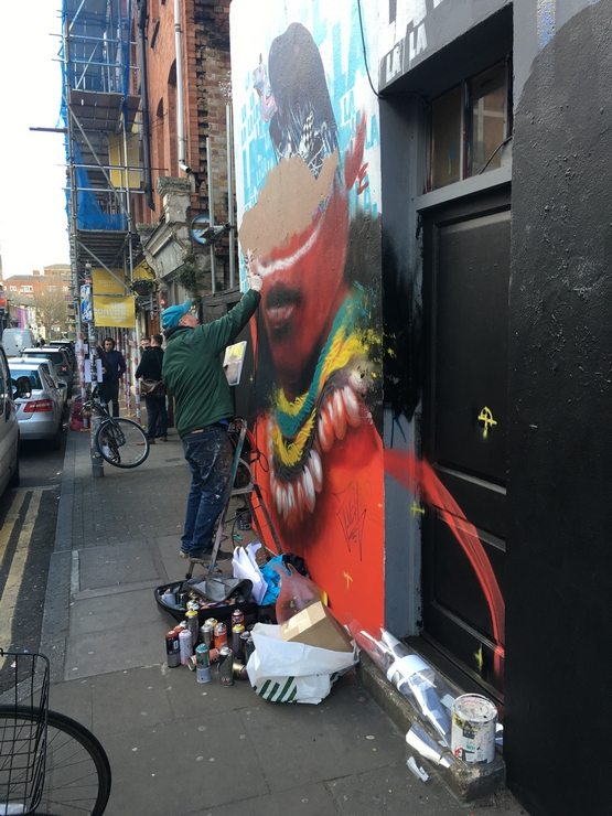 London, Shoreditch, Street Art, artist, Preem Restaurant, 2017, Dale Grimshaw work in progress