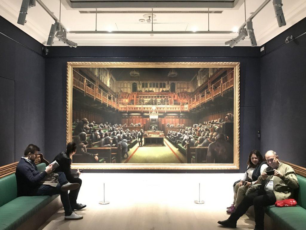 Banksy, Sothebys, Devolved Parliament, Question TIme, painting, street art, tour