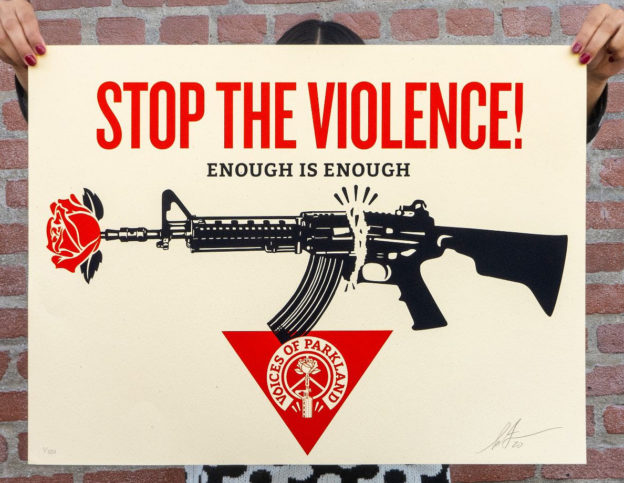 Shepard Fairey, Anti gun, #nohate, #LiveandLetLive, #StreetArt AgaintHate #WeDemand, #ChangeTheRef, streetart, streetartist, Shoreditch Street Art Tours